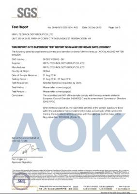 FDA(EU Standard)  for AOK Alkaline Water Ionizer